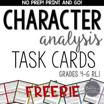 character analysis task cards