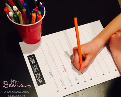 words 3 ways worksheets