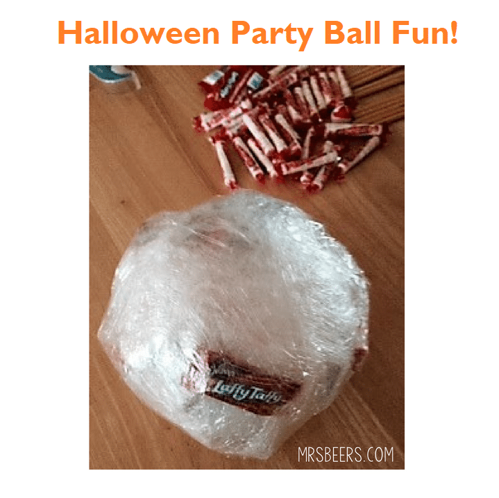 saran wrap ball for halloween class party