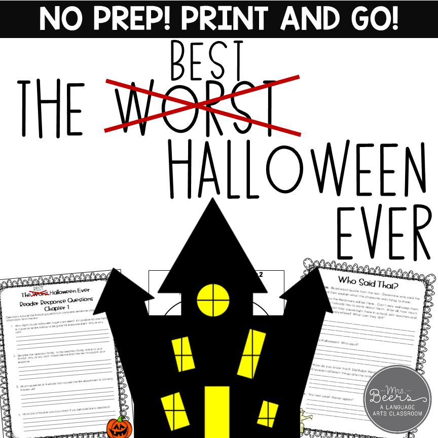 Best Halloween Ever Novel Study Unit