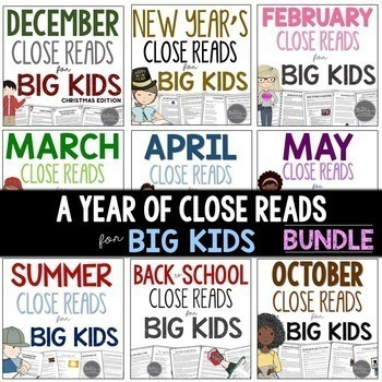 close reads for middle school lesson plans