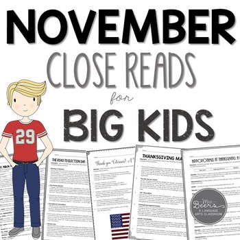 November close reading passages for grades 4-8